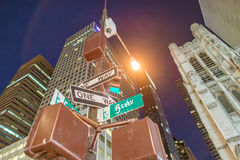 One way signs at night on the Fifth Avenue, New York City Royalty Free Stock Image