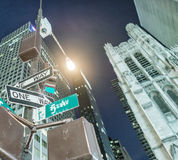 One way signs at night on the Fifth Avenue, New York City Royalty Free Stock Photos