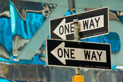 One way signs Stock Photos