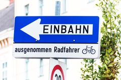 One-way street, road sign with additional Stock Images
