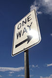 One way street sign. Street sign pointing to a one way street Stock Image