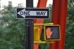 One way street sign n Manhattan stock photos