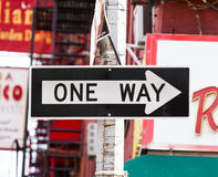One Way street sign in New York City Stock Image