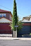 One way street sign in suburban street stock images