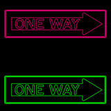 One way symbols. Neon green and pink one way signs vector illustration