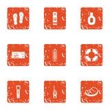 One way ticket icons set, grunge style stock illustration