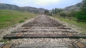Railway line with tracks removed Stock Images