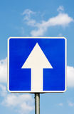 One-Way traffic road sign. Stock Photos