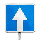 One-way traffic - road sign isolated. On white Stock Photos