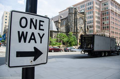 One way traffic sign in the city Royalty Free Stock Photography
