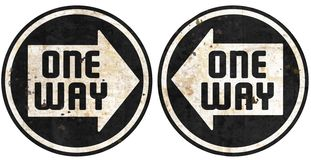 One Way this way metal street signs grunge arrow. Rustic round European directional rust old antique highway black white antique vector illustration