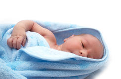 One week old baby in blanket on white background Stock Photo