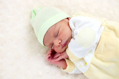 One week old baby boy asleep Stock Photography