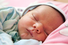 Free One Week Old Baby Boy Asleep Royalty Free Stock Photography - 19089137