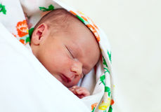 One week old baby boy asleep Royalty Free Stock Images