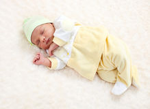 One week old baby boy asleep Stock Image