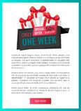 Only One Week, Price Reduction Clearance Label. Only one week, price reduction , shop clearance label web page template vector. Best shop offer, saving money stock illustration