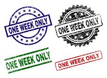 Grunge Textured ONE WEEK ONLY Seal Stamps. ONE WEEK ONLY seal prints with distress style. Black, green,red,blue vector rubber prints of ONE WEEK ONLY label with royalty free illustration