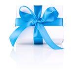 One White boxs tied Blue satin ribbon bow  Royalty Free Stock Image