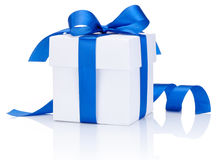 One White boxs tied Blue satin ribbon bow Isolated on white. Background Royalty Free Stock Image