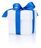 One White boxs tied Blue satin ribbon bow  on white Royalty Free Stock Photos