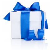 One White boxs tied Blue satin ribbon bow  on white Stock Photo