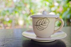 One white cup of aromatic coffee Stock Photography
