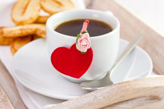 One white cup of coffee with heart Royalty Free Stock Images