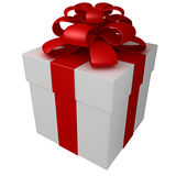 One white gift box with red ribbon and bow. Isolated Royalty Free Stock Photo