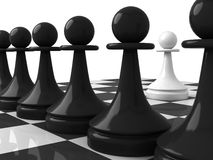 One white pawn opposite black pawns Royalty Free Stock Photo