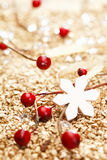 One white star. And some red decoration for christmas. Whole series in my Portfolio Royalty Free Stock Images