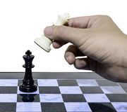 One white win blacks chess Stock Photos