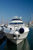 One white yacht. At a mooring in port Royalty Free Stock Photo