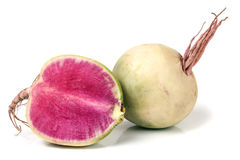 One Whole And Sliced Watermelon Radish Isolated On White Background Royalty Free Stock Images