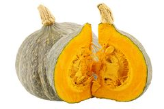 One whole and cut pumpkins isolated on white. Background with clipping path for package design Royalty Free Stock Images