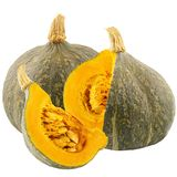 One whole and cut pumpkins isolated on white background. With clipping path for package design Royalty Free Stock Images