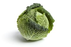 One whole fresh green Savoy cabbage Stock Photos