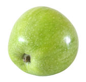 One whole green apple fruit isolated on white with clipping path Royalty Free Stock Images