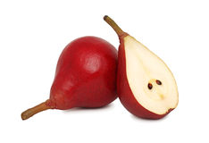 One whole and a half red pears (isolated) Stock Image
