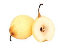 One whole and a half ripe Chinese pear (isolated) Stock Photos
