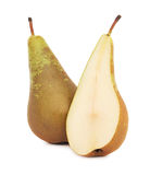 One whole and a half ripe green pear (isolated) Royalty Free Stock Images