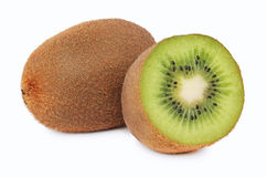 One whole and a half ripe kiwi (isolated) Stock Images