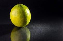 One whole lime on black background, horizontal shot Royalty Free Stock Photo