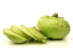 One whole and one cut kohlrabi Stock Image