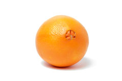 One whole orange on white Royalty Free Stock Image