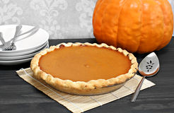 One whole pumpkin pie Royalty Free Stock Photography