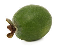 One whole ripe feijoa (isolated) Stock Images