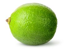 One whole ripe lime. Isolated on white background Stock Image