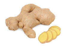 One whole and slices of ginger (isolated) Stock Photos
