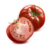 One whole tomato and half diagonal composition  Stock Image